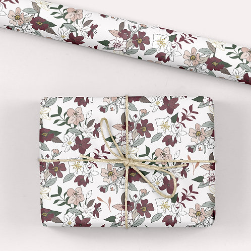 Floral Wrapping Paper / Gift Wrap - Tabitha's Garden - Hellebores