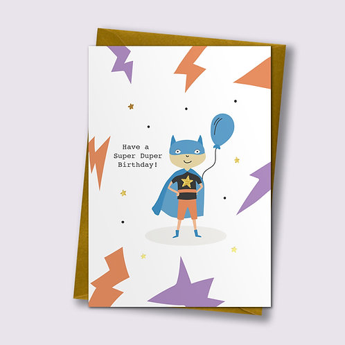 Super Duper - Birthday Card, Superhero Card