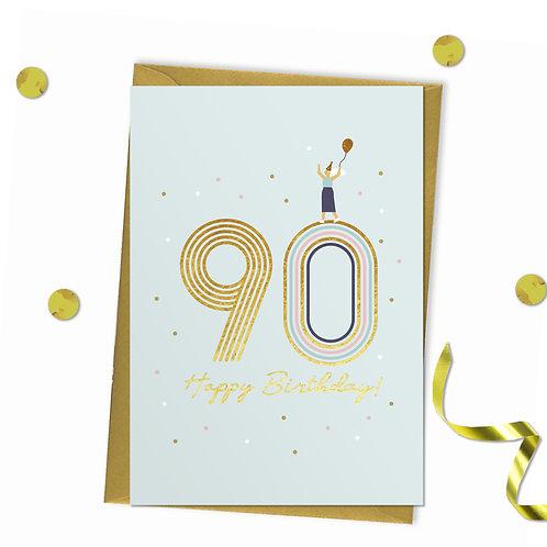 6 of 90 - Happy birthday Card, 90th birthday card