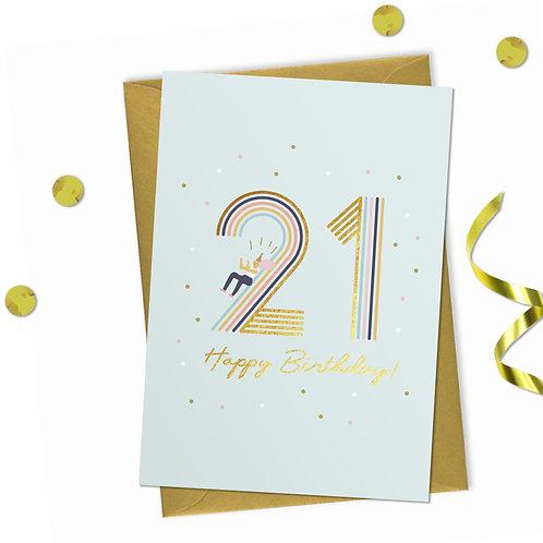 21 - Happy birthday Card, 21st birthday card