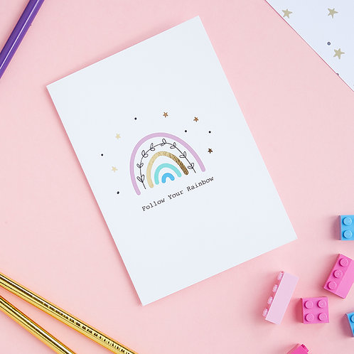 6 Let's Chase Rainbows - Encouragement Card, Just a Note Card