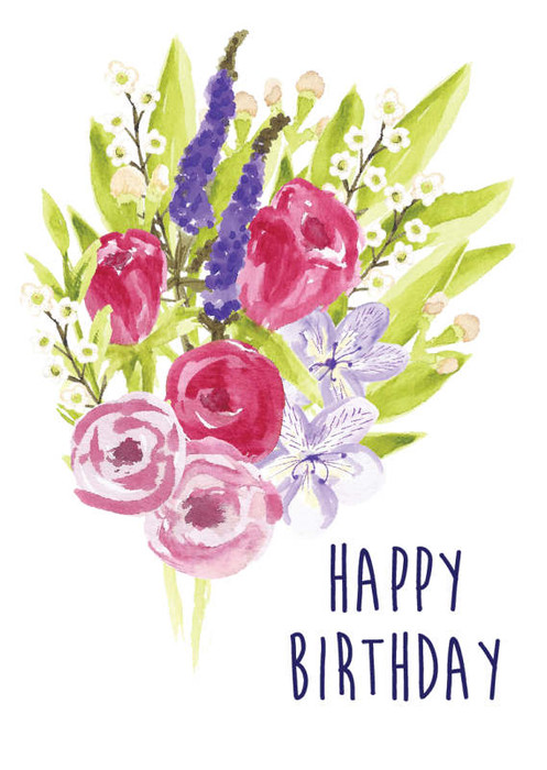 A Big Bouquet Of Spring Flowers Spray Out On The Card With Words HAPPY BIRTHDAY Written Below