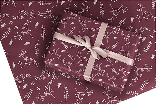 6 Christmas Wrapping Paper / Gift Wrap - Berry and Bright - Burgundy
