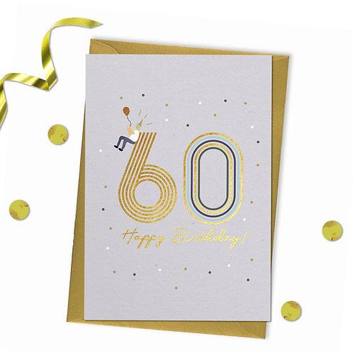 60 - Happy birthday Card, 60th birthday card