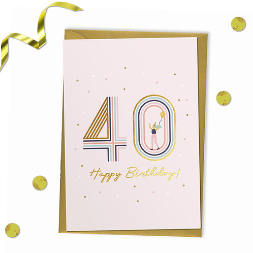 40 - Happy birthday Card, 40th birthday card