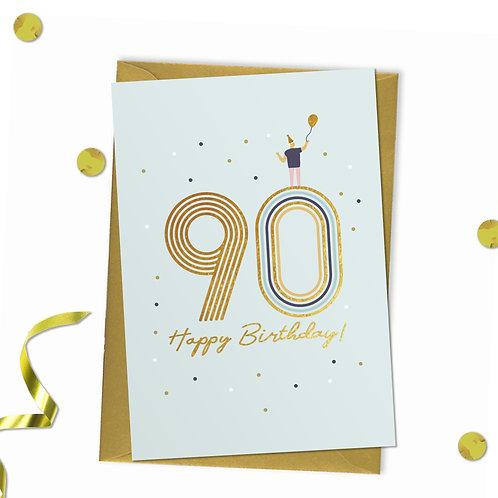 90 - Happy birthday Card, 90th birthday card