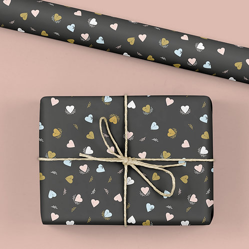 Heart Wrapping Paper / Gift Wrap - Tabitha's Garden - Pastel Hearts