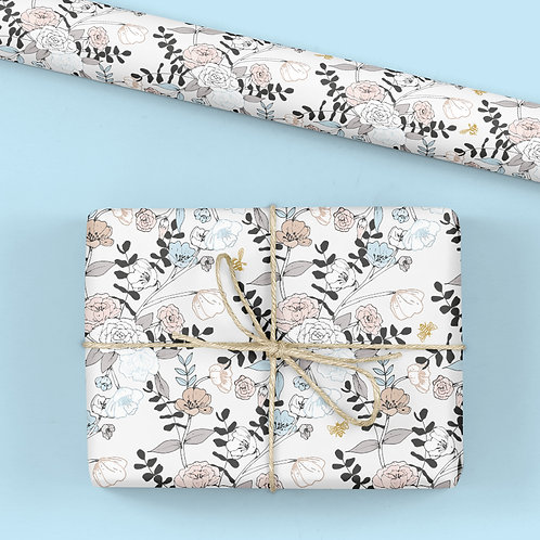 6 Floral Wrapping Paper / Gift Wrap - Tabitha's Garden - Bees