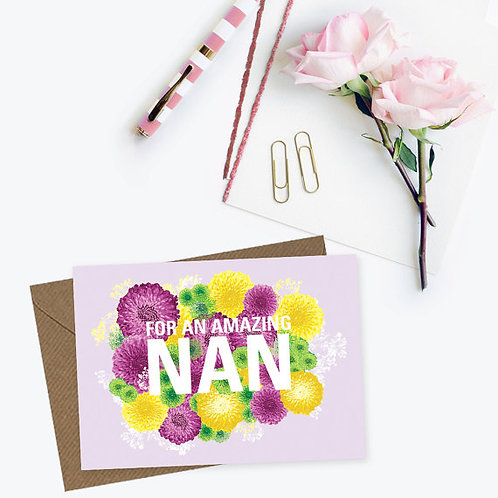 For an amazing nan card, nan's birthday card, card for a nan