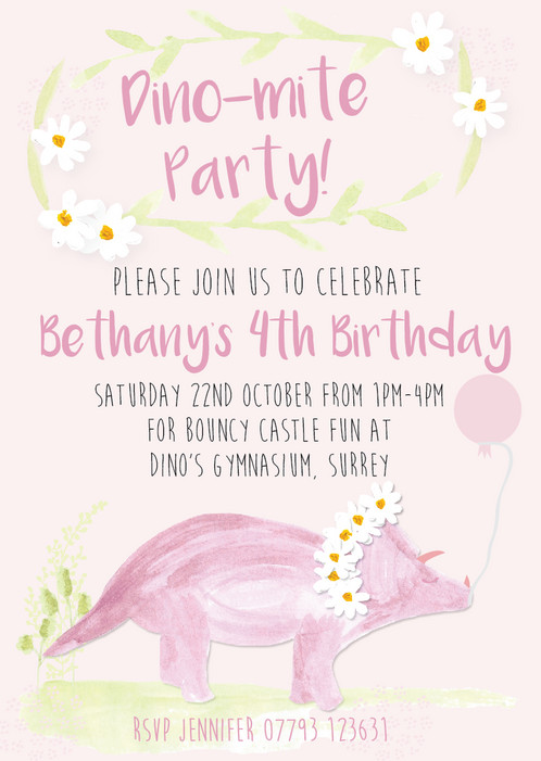 Triceratops Dinosaur Personalised Birthday Party Invitations