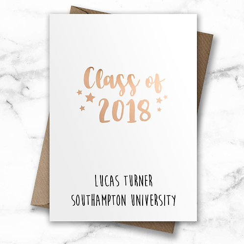 Personalised graduation card, class of 2018 card