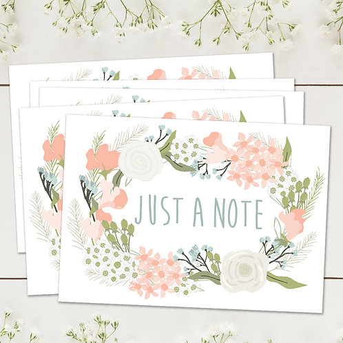 Set of 10 thank you postcards, set of 10 just a note cards with envelopes