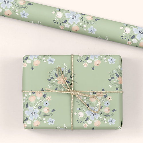 6 Floral Wrapping Paper / Gift Wrap - Blooming Marvellous - Green