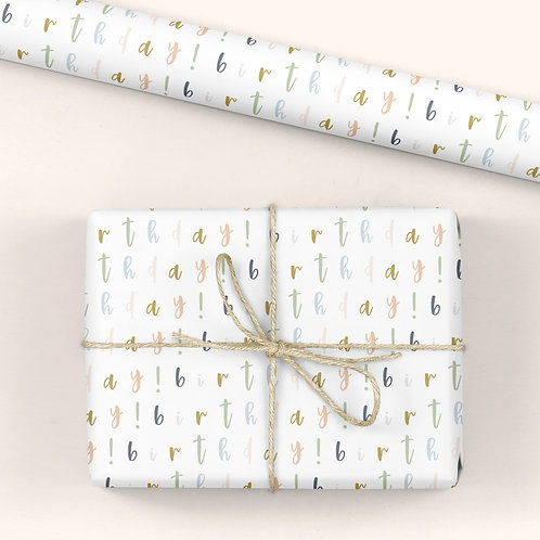 6 Birthday Wrapping Paper / Gift Wrap - Blooming Marvellous - Birthday!