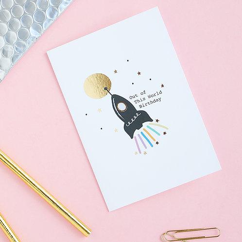 Cosmic Birthday - Birthday Card, Rocket Card