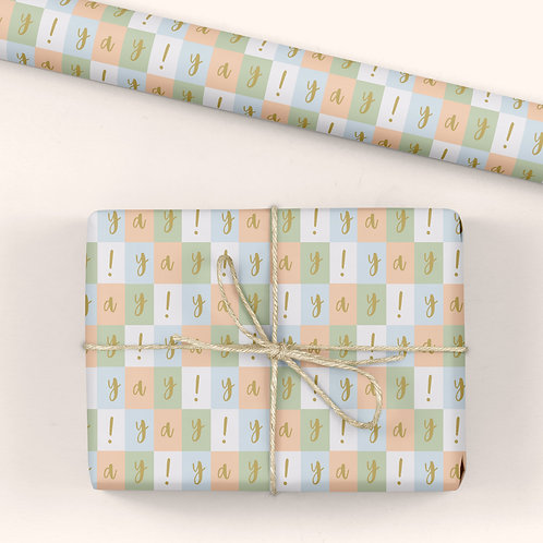 6 Birthday Wrapping Paper / Gift Wrap - Blooming Marvellous - Yay!