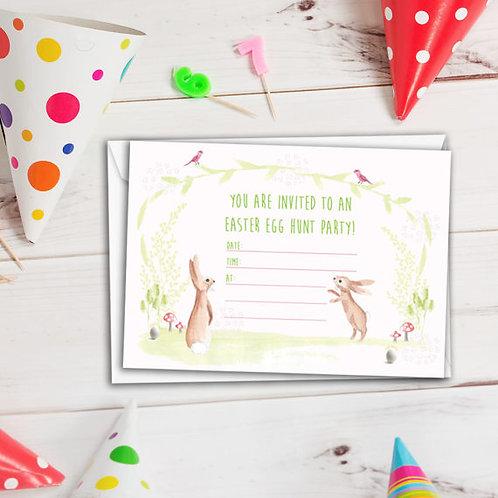 Set of 6 Easter egg hunt party invitations, easter egg hunt invitation