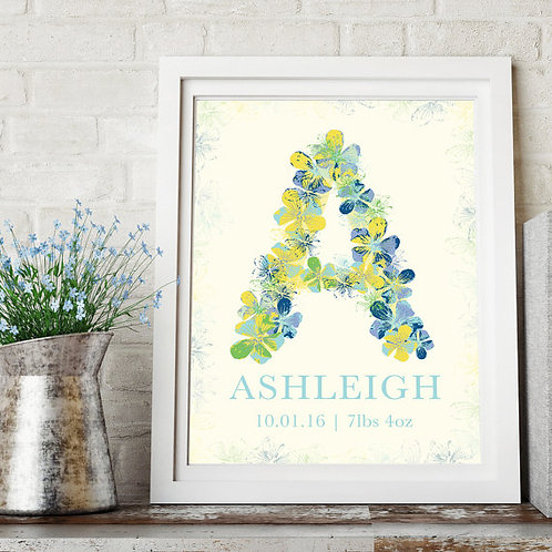 Customisable baby letter print, nursery print, new baby nursery art
