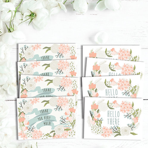 Set of 8 thank you cards, floral thank you card set, thank you card, just a note