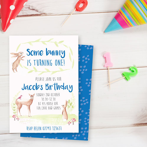Personalised first birthday invite, woodland birthday invite, boys party