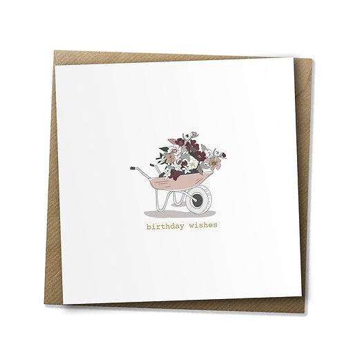 Blooming Wheelbarrow - Birthday Card, Birthday Wishes, Happy Birthday Card
