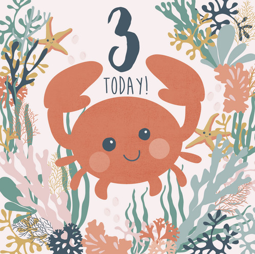 3rd Birthday Card Crab Birthday Card Three Today Childrens