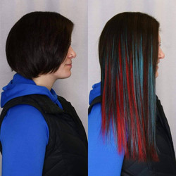 teal and red hair extensions