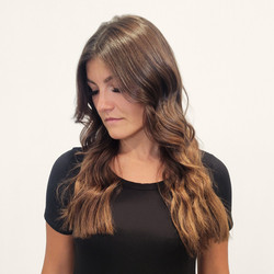 light brunette curled extensions