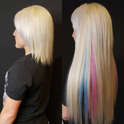long platinum blonde extensions with blu