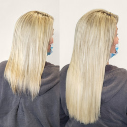 blonde mid-length extensions