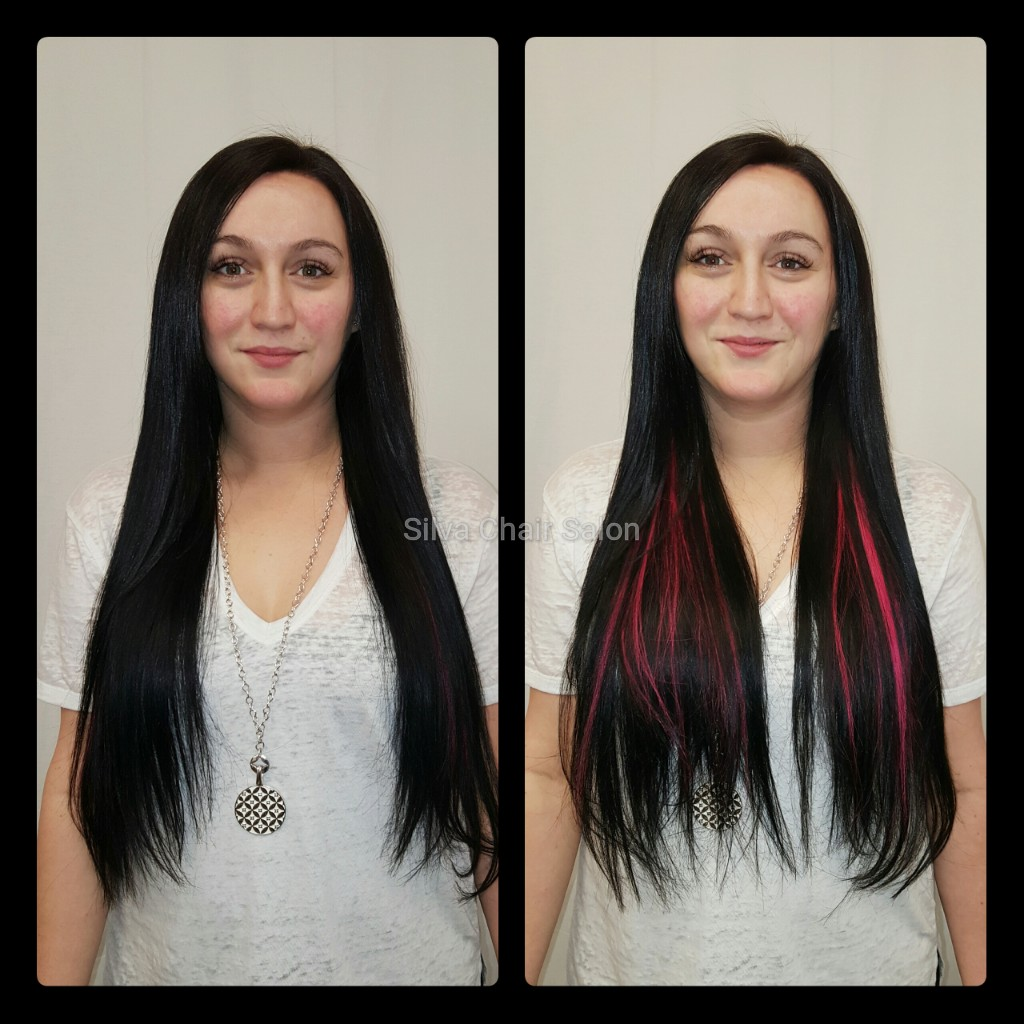 black and pink hair extensions