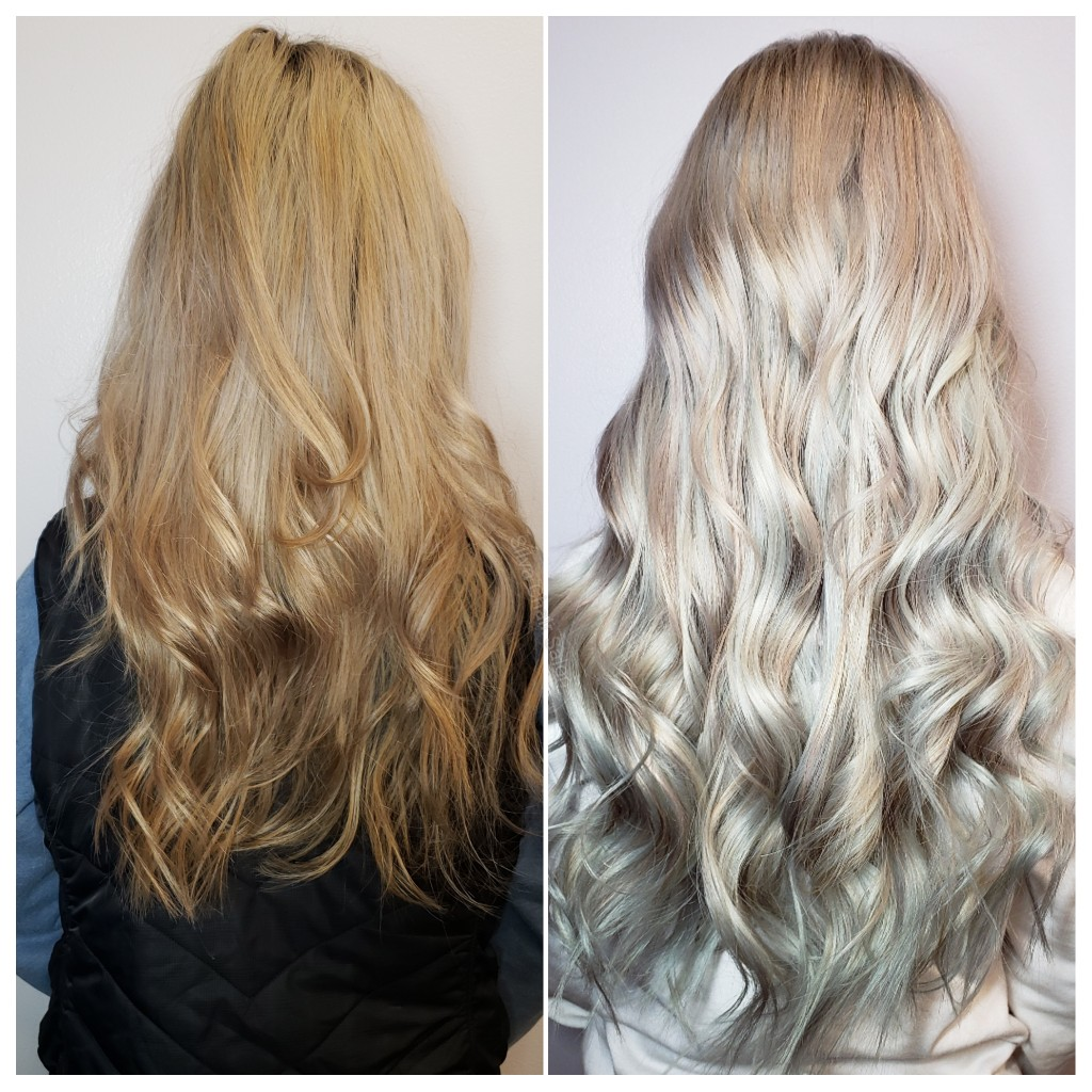 siver hair extension before and after