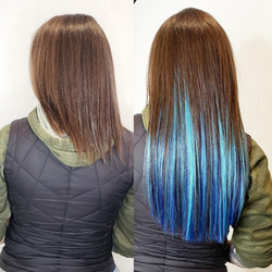 blue and teal hair extensions