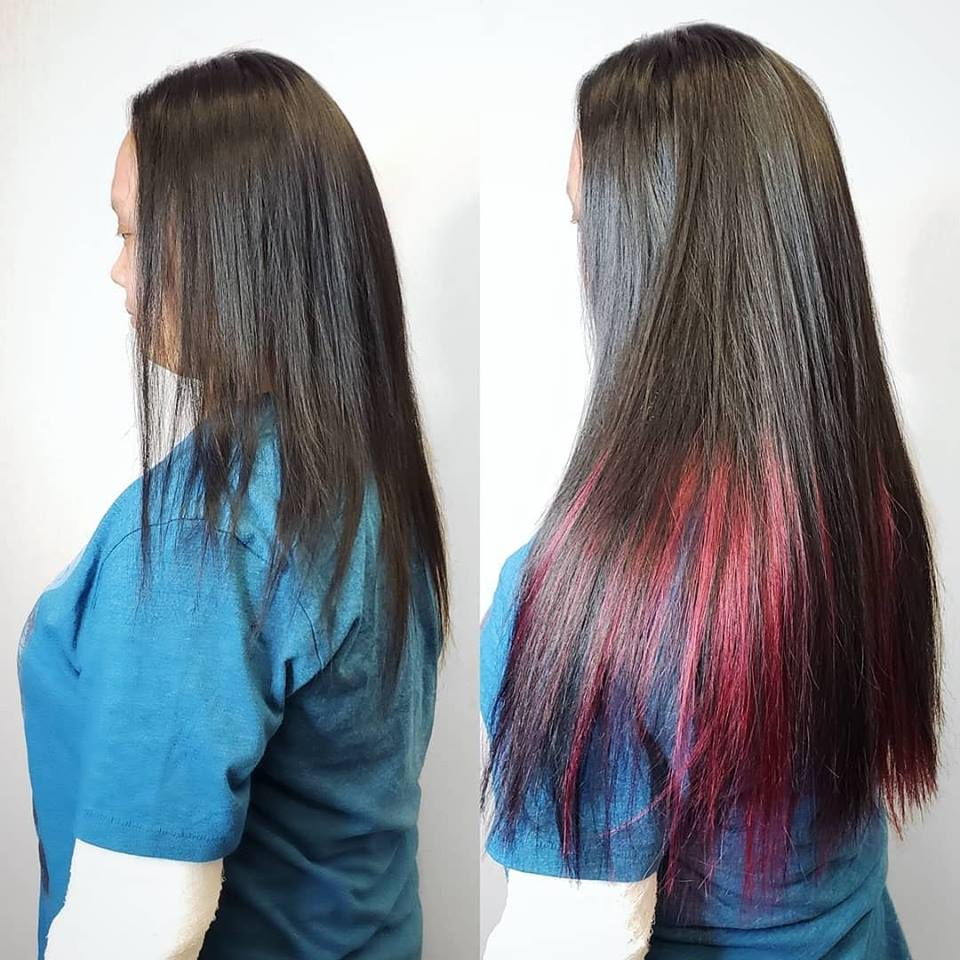 ombre hair extension maroon