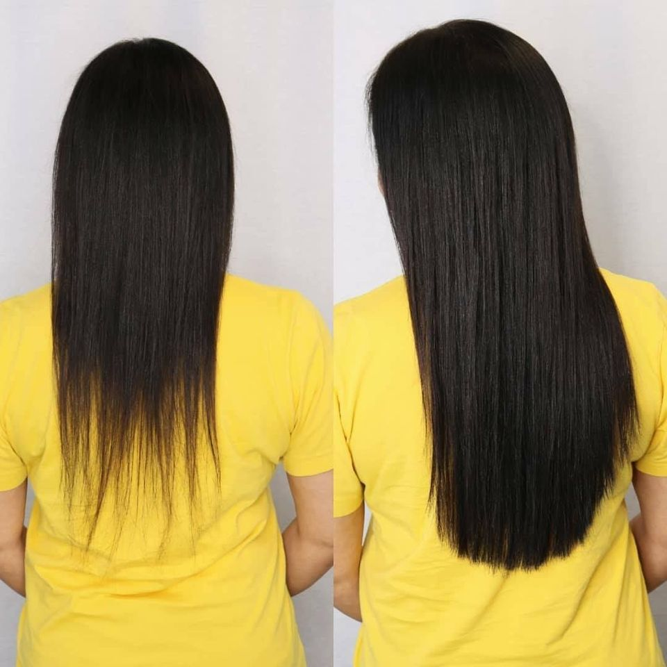 Adding thickness with hair extensions