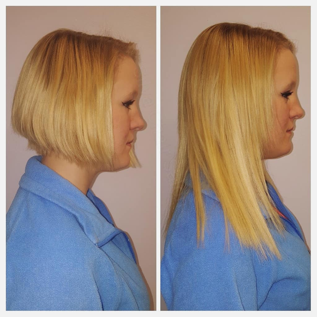 hair extensions blonde side