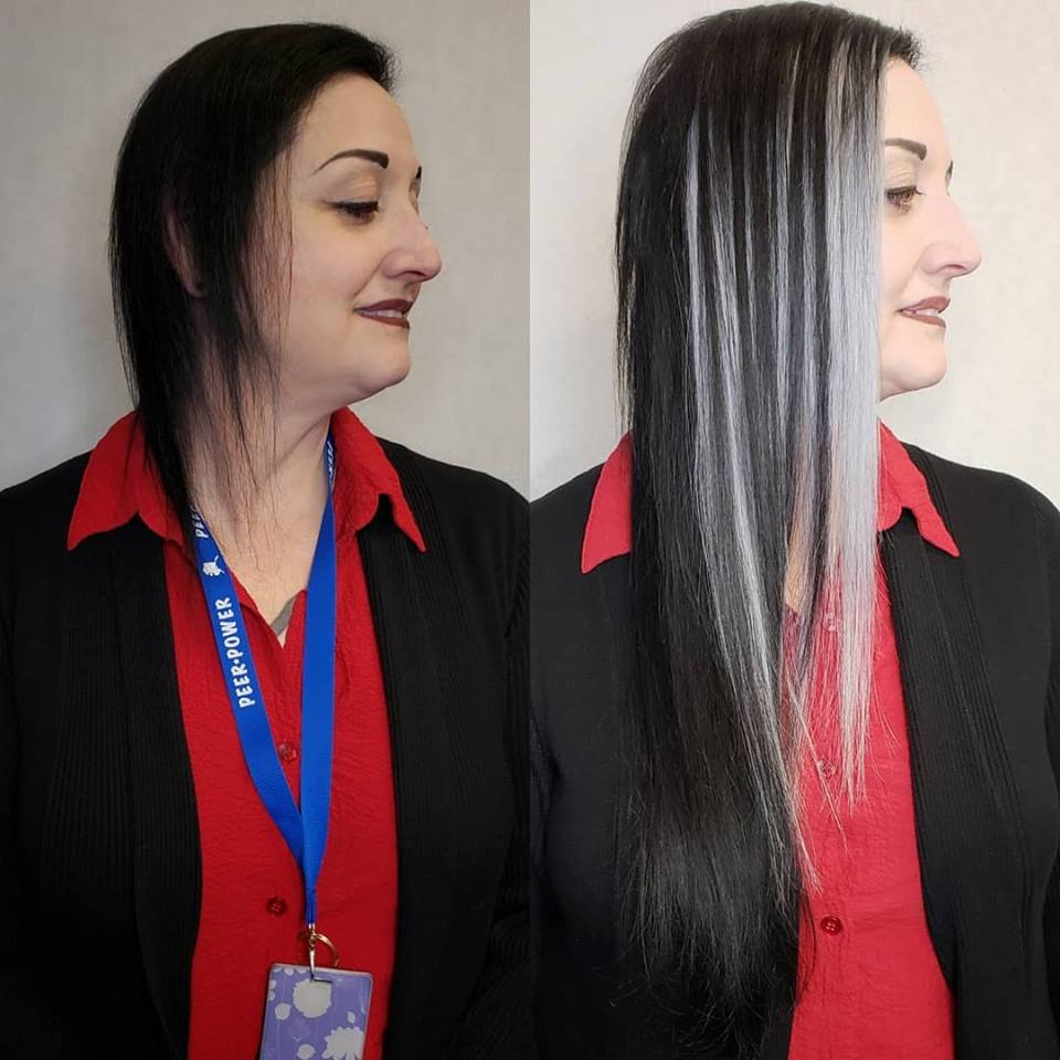silver and black hair extensions