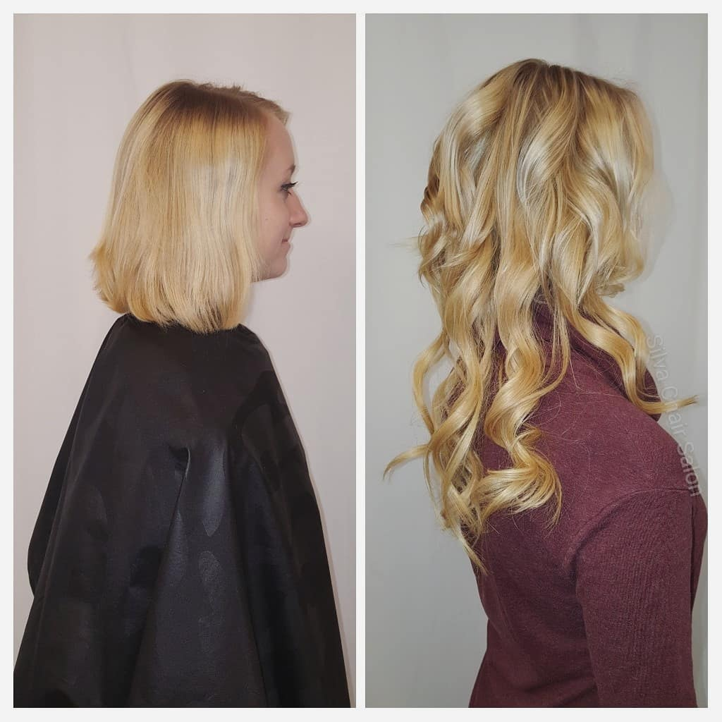 hair extensions blonde curled