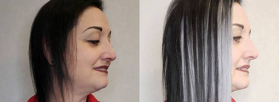 silver and black hair extensions for fin