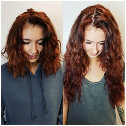 curly hair extension before and after