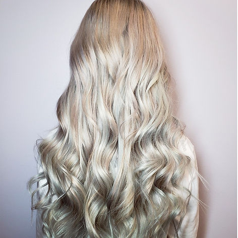 curled silver hair extensions