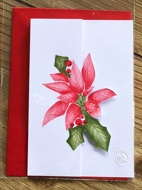 handgemaakte kaart inclusief rode envelop: kerstster met glitters