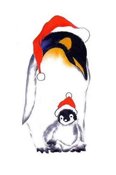Grote pinguin met baby met 3D opplak kerstmutsjes