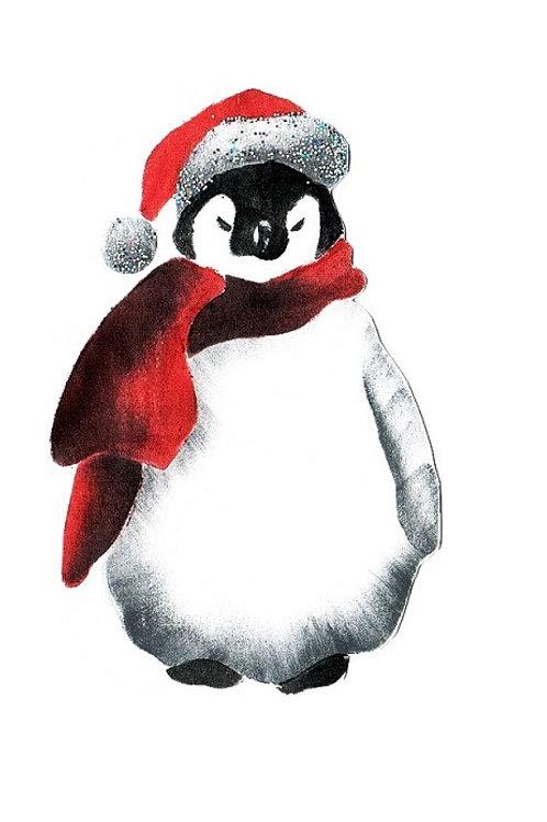Pinguin met kerstmuts en sjaal pakket en extra een 3D kaart met envelop
