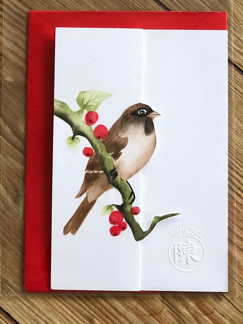 handgemaakte kaart inclusief rode envelop: musje met 3D besjes