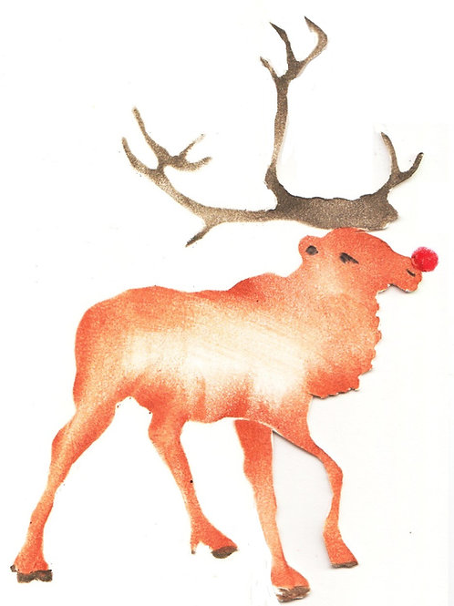 Hert met rode neus pakket en extra een 3D kaart met envelop