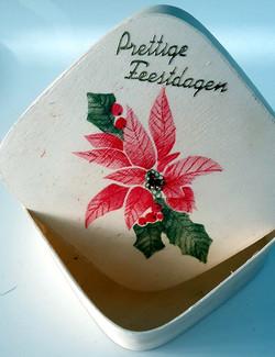 kerstster op houten doosje