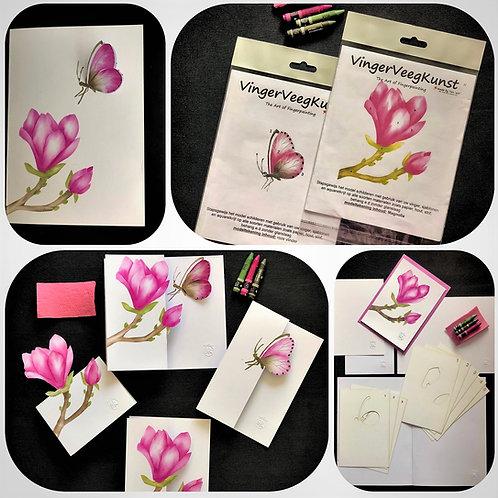 Combinatiepakket magnolia en roze vlinder met online workshop