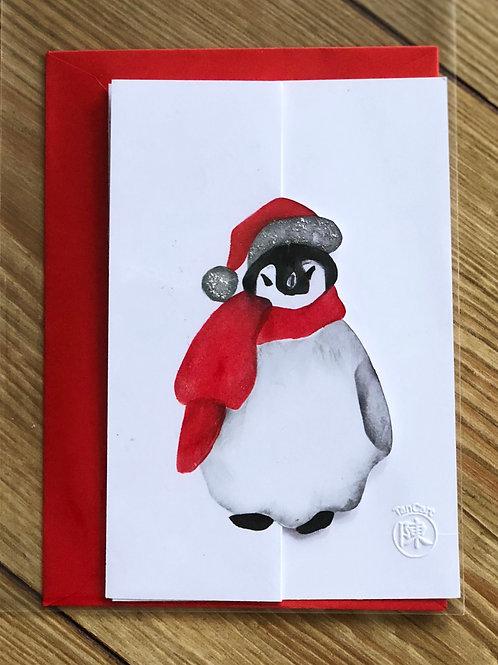 handgemaakte kaart inclusief rode envelop: pinguin met zilveren glitters