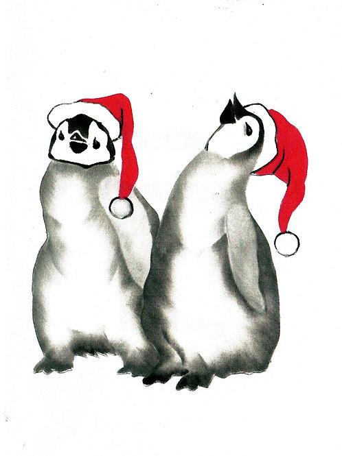 2 pinguins met kerstmuts